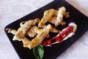 Navallas en tempura picante con amorodos